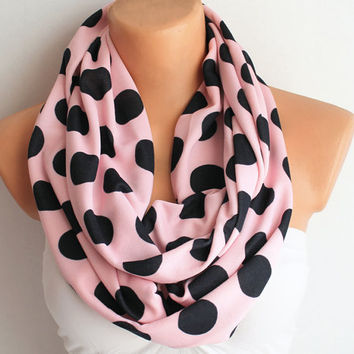 Infinity Scarf Loop Scarf Polka Dots Pink and Black Cotton Jersey Circle Scarf Cowl Scarf