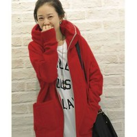 Women Red Causal Cotton Zipper Outerwear with Cap M/L/XL@HX794r