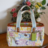 AUTHENTIC COACH SOHO MULTI COLORED SCRIBBLE LOGO HANDBAG TOTE F13565 - Handbags & Bags