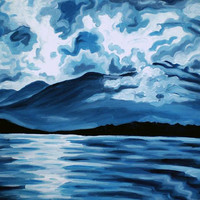 "ORIGINAL acrylic painting on gallery wrapped canvas - Blue Mountain No.3 - 18"" x 24"""