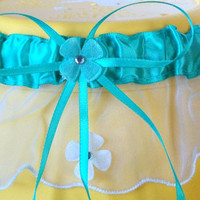 Sea Green and White Garter