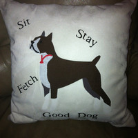Boxer dog applique throw pillow