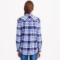 BOYFRIEND FLANNEL SHIRT IN DEEP SEA PLAID