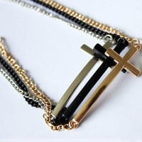 Sideways Cross Chain Bracelet (Black, Gold, OR Silver)