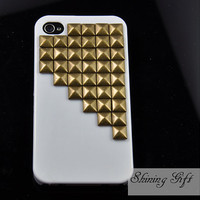 Metal Bronze stud white Hard Case Cover -for Apple iPhone 4 Case, iPhone 4s Case, iPhone 4 Hard Case