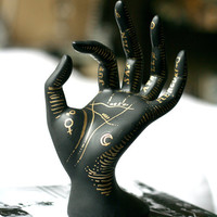 Hand Painted Astrological Palm Reading Ring and Jewelry Holder / Display