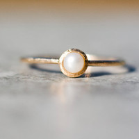 Pearl engagement ring, pearl stacking ring, solid 14k gold