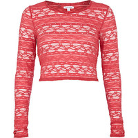 River Island Womens Pink lace long sleeve crop top