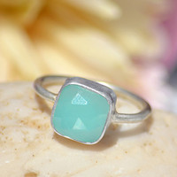10%OFF - Aqua Blue Seafoam Chalcedony sterling silver cushion square shape stacking bezel set ring - Size 5, 6 or 7