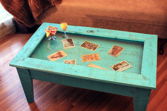 Display Coffee Table with Glass Top, Reclaimed Wood, Rustic Contemporary, Distressed Turquoise Finish - Handmade