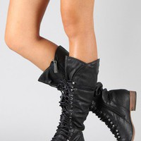Breckelle Georgia-25 Military Lace Up Knee High Boot