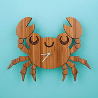 Bamboo Crab Clock: Wooden Kids Wall Clock Ocean Nursery