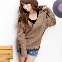Blends Brown long bat sleeve round neck loose hooded sweater   indressme.com