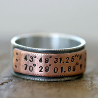 Latitude Longitude Wedding Ring Mixed Metal by monkeysalwayslook