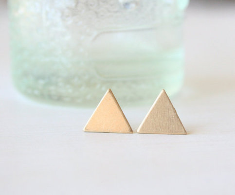 Modern Brass Triangle Earrings  by TwoLittleDoves