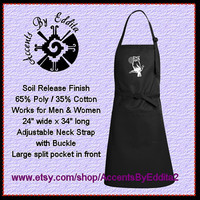 Owl on Branch with a Rhinestone Moon Chefs Apron for all Hooty Lovers