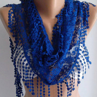 Cobalt - Elegance  Shawl / Scarf with Lacy Edge