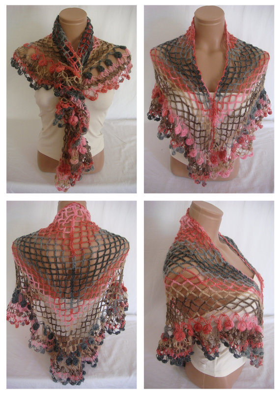 Hand crocheted multicolor elegant magic shawl