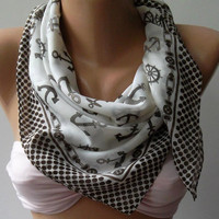 Marine Shawl / Brown and White Shawl - Cotton Scarf - Headband - Necklace
