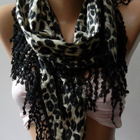 Black - Elegance Shawl / Scarf with Lace Edge  leopard