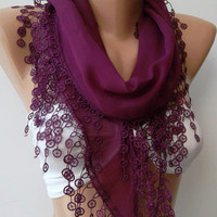 Wine Burgundy....Scarf ....Shawl....Cotton...Shawl....feminine ....Elegant Scarf