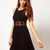 ASOS Skater Dress With Cut Out Waist at asos.com