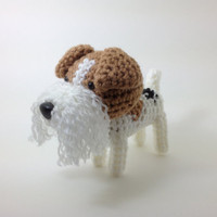 Wire Fox Terrier Amigurumi Stuffed Animal Crochet Dog Doll / Made to Order
