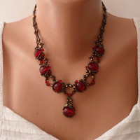 Burgundy Necklace - Swarovski and Czech Cristal - Speacial Handmade Design