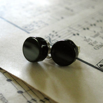 Pitch Black Earrings - Dark 8mm Black Noir Agate Beads on Silver Stud Posts - Minimalist Modern Unisex Gift Idea