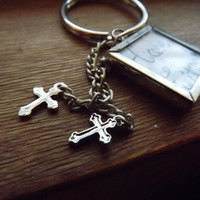 Customizable Silver Cross Key Chain