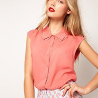 ASOS  Blouse With Folded Collar at asos.com