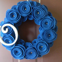 Baby Boy Wreath - Boy's Nursery Wreath in Cadet Blue Felt with Wooden Initial - 12 inch