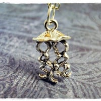 Tiny Jellyfish Charm Necklace in Antique Pewter with a Delicate 18 Inch Silver Plated Cable Chain