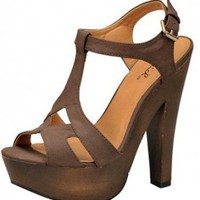 BROWN T-STRAP SANDAL @ KiwiLook fashion