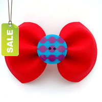 15% OFF SALE Red bow on barrette clip with button accent.