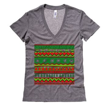 Ugly Christmas Sweater Aztec Theme Womens V Neck