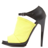 Qupid Stretchy Color Block Peep Toe Heels by Charlotte Russe - Lime