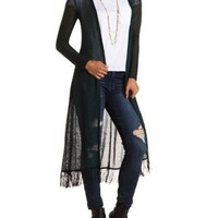Fringe Trim Duster Cardigan by Charlotte Russe - Shaded Spruce
