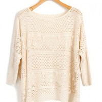 Loose Batwing Knitted Jumper with Crochet Lace