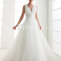 [$199.99] A-line V-neck Floor-length Tulle Wedding Dress
