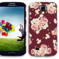 Akna Retro Floral Series 3D Vintage Flower Pattern Non-slip Rubber Feel Semi-soft Back Case for Samsung Galaxy S4 SIV [Scotch Red]