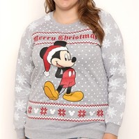 Plus Size Long Sleeve French Terry Top with Snowflake Mickey Print