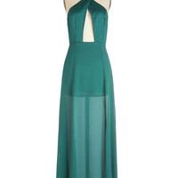 ModCloth Vintage Inspired Long Halter Maxi Xanadu Your Thing Dress