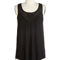 ModCloth Minimal Mid-length Racerback Fun-Loving Friday Top in Black