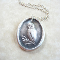 Wax seal necklace owl in branches made from recycled fine silver