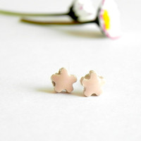 Ceramic Peach Post Earrings Pink Flower Tiny Stud Earrings Hypoallergenic