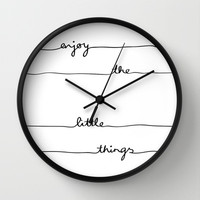 Little Things Wall Clock by Mareike Böhmer Graphics