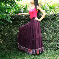 NO.25 Reddish-Purple Cotton, Hippie Gypsy Boho Tiered Cotton Peasant Skirt