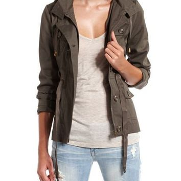 Hooded Drawstring Anorak Jacket: Charlotte Russe