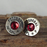 Nickel plated 38 Special Bullet Earrings - Ultra Thin - Red